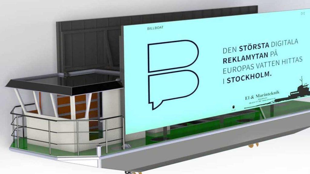Billboat – flytande jätteskärmar på Teslabatterier samlar skräp